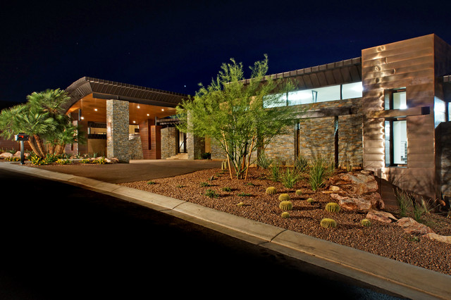 Copper Mailbox Exterior Contemporary with Cactus Carport Circular Driveway