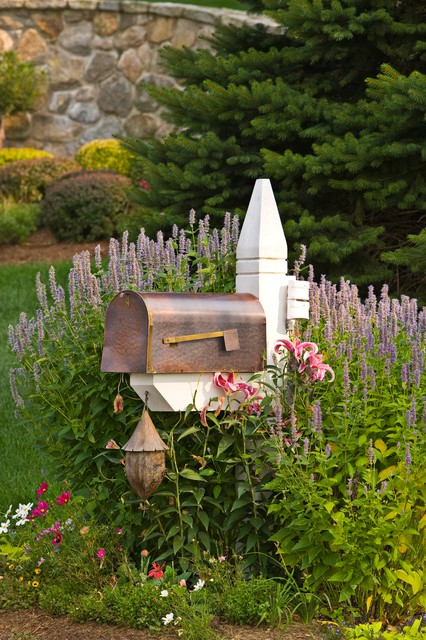 copper mailbox Landscape Traditional with curbside mailbox Day Lilies