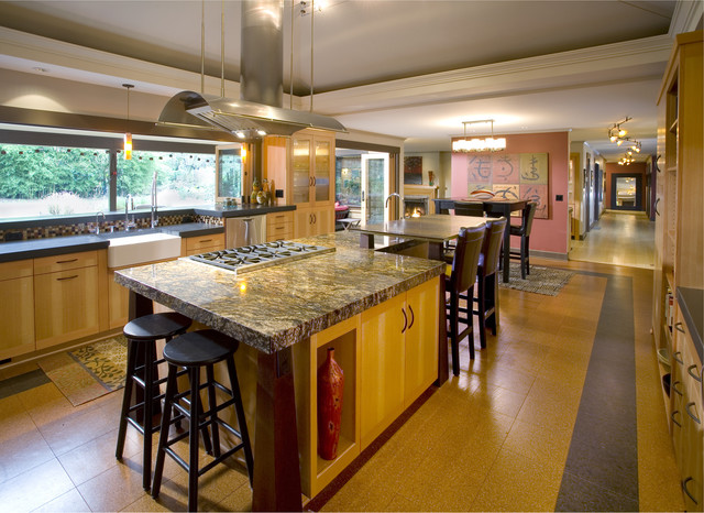 Cork Flooring Pros and Cons Kitchen Asian with Apron Front Sink Asian