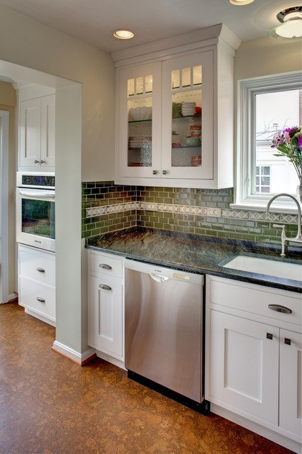 Cork Flooring Reviews Kitchen Traditional with Ceiling Lighting Glass Front