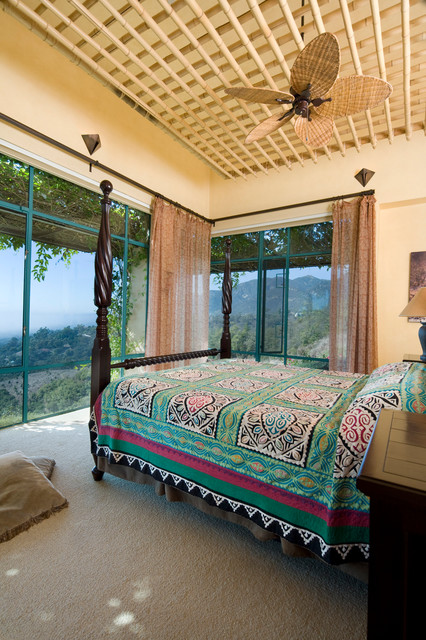 Corner Curtain Rod Bedroom Southwestern with Bamboo Lattice Ceiling Ceiling