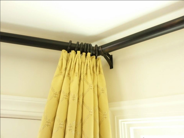 Corner Curtain Rod Living Room Transitional with Curtain Rod Custom Window