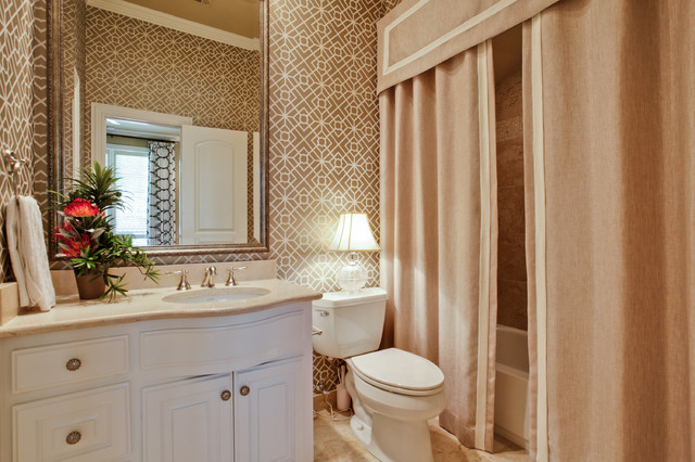 Corner Shower Curtain Rod Bathroom Traditional with Beige Countertop Beige Shower