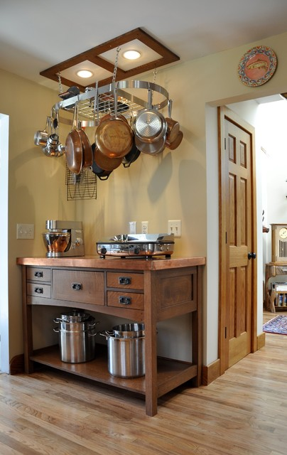 Corner Workstation Kitchen Craftsman with Ceiling Lighting Craftsman Hanging