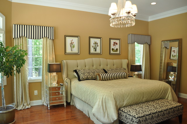 Cornice Board Bedroom Traditional with Bedspreads Bench Bolster Botanical