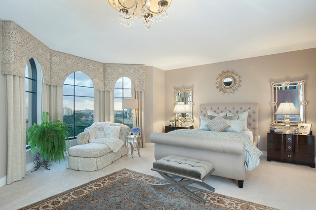 Cornice Board Bedroom Transitional with Bay Windows Bedroom Bench