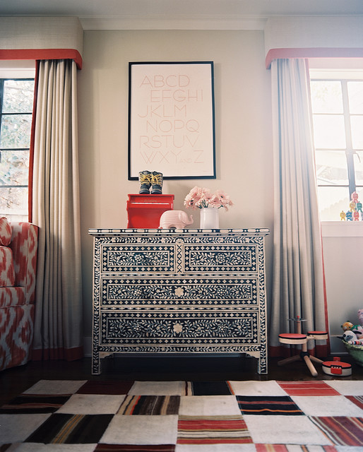 Cornice Board Living Room Eclectic with Area Rug Artwork Chest
