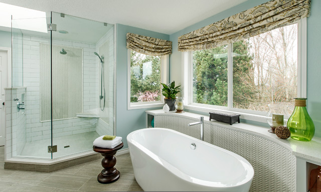 Cornices Bathroom Traditional with Ann Sacks Corner Shower