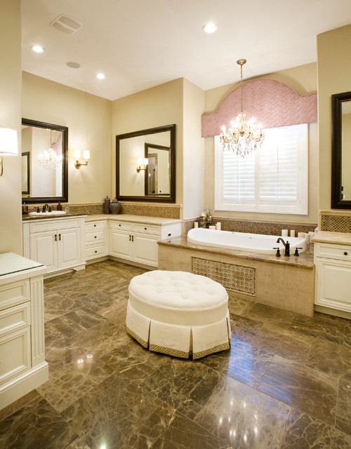 Cornices Bathroom Traditional with Bathroom Chandelier Bathtub Beige1