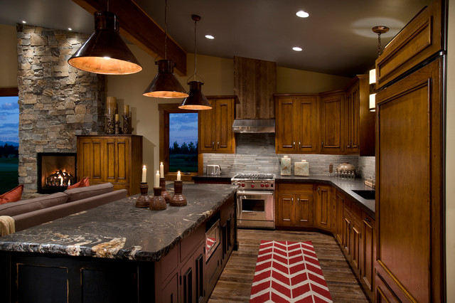 Cosmos Granite Kitchen Contemporary with Black Pendant Lights Brown