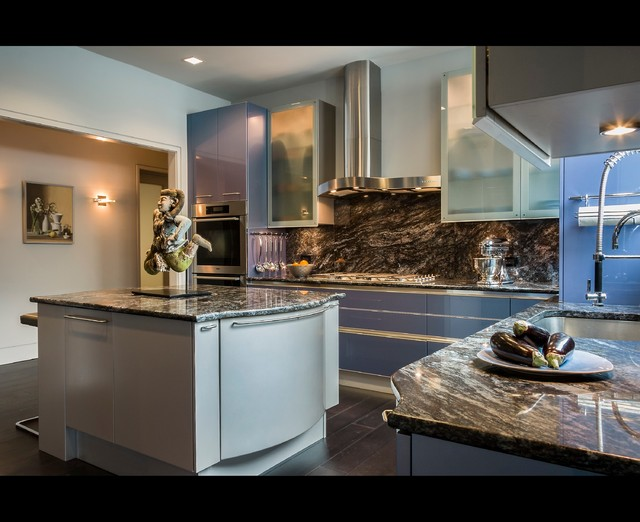 cosmos granite Kitchen Contemporary with blue cabinets blue drawers