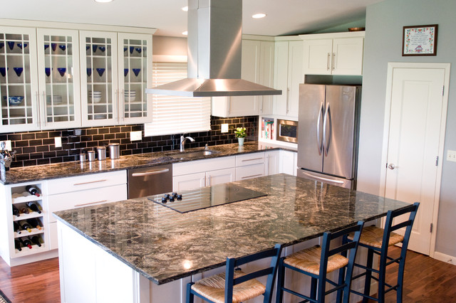 Cosmos Granite Kitchen Eclectic with Acacia Wood Flooring Black