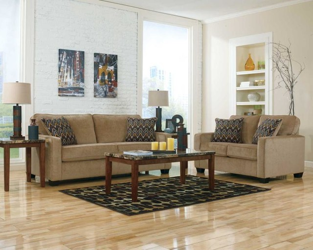 Couch and Loveseat Living Room with Accent Pillows Beige Couch