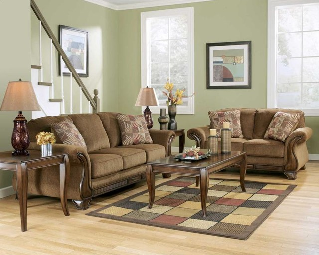 Couch and Loveseat Living Room with Accent Pillows Brown Couch