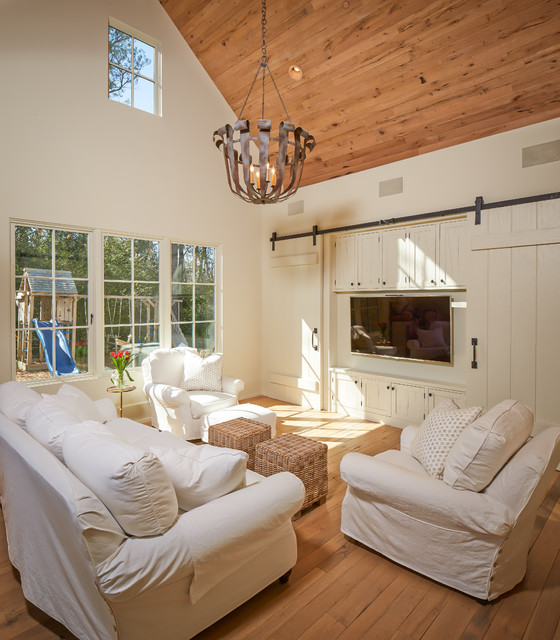 Couch Slip Cover Family Room Traditional with Armchair Barn Door Barn