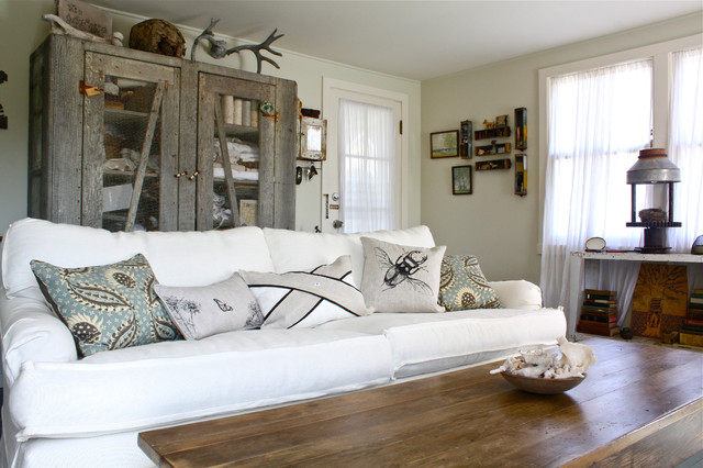 couch slip cover Living Room Shabby-chic with beach house closet cottage