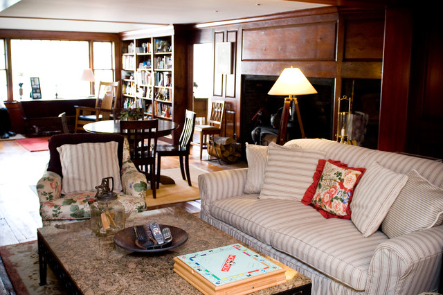 Couch Slipcover Family Room Farmhouse with Antiques Area Rug Bookcase