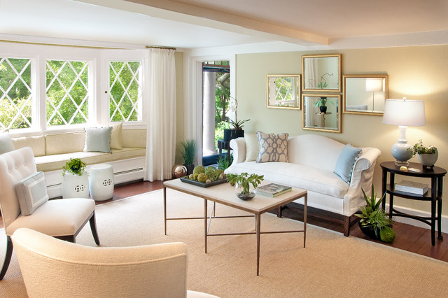 Couch Slipcover Living Room Contemporary with Bay Window Beach House