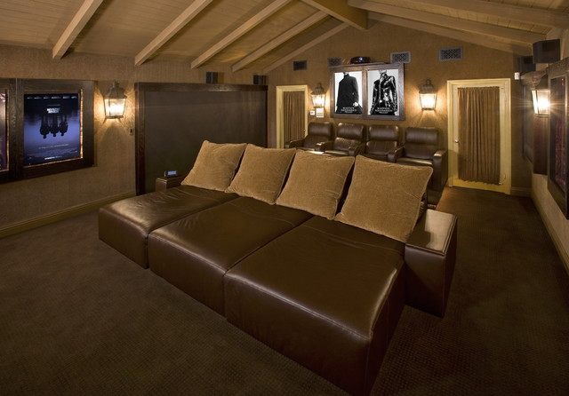 couch with chaise lounge Home Theater Contemporary with big screen Built by