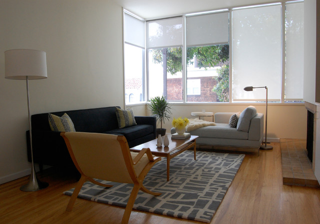 Couch with Chaise Lounge Living Room Midcentury with Contemporary San Francisco Apartment