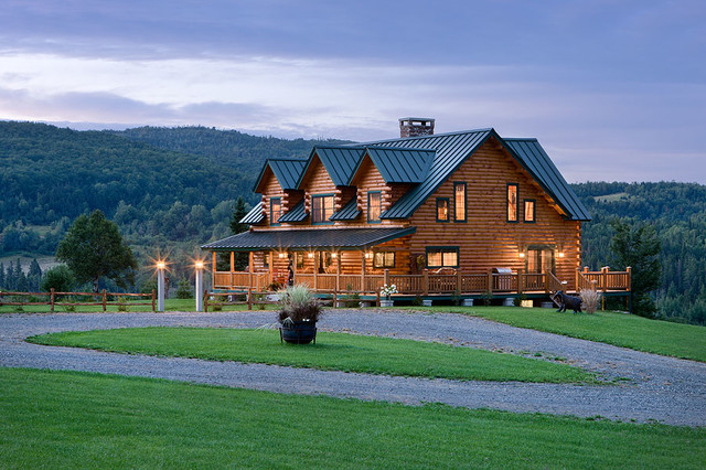 Coventry Log Homes Exterior Rustic with Bear Rock Cabin Packages