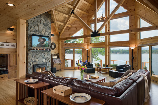 Coventry Log Homes Living Room Rustic with Coventry Coventry Log Homes