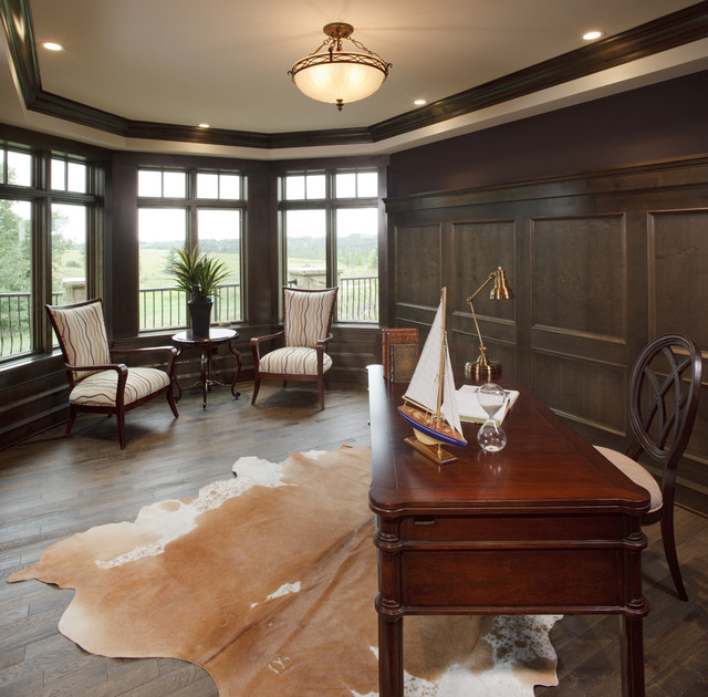Cow Hides Home Office Traditional with Animal Rug Bay Windows