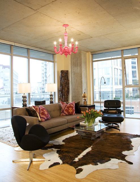 cow hides Living Room Industrial with area rug concrete cowhide