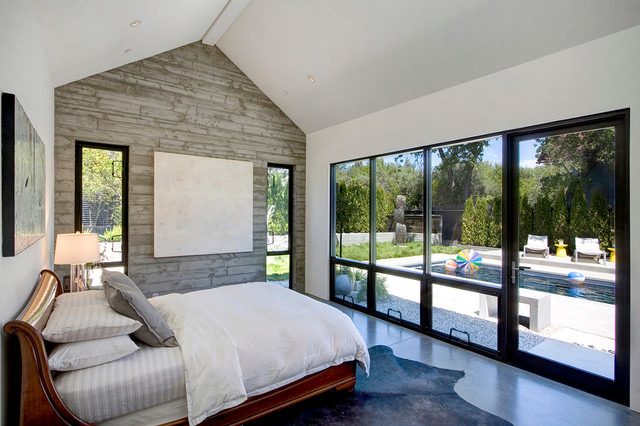 Cowhide Rug Bedroom Farmhouse with Anodized Aluminum Windows Beautiful