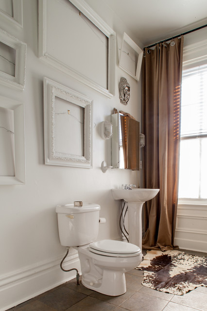 Cowhides Bathroom Eclectic with Brown Curtains Brown Tile