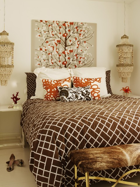 Cowhides Bedroom Eclectic with Bamboo Bedscape Bench Ceiling