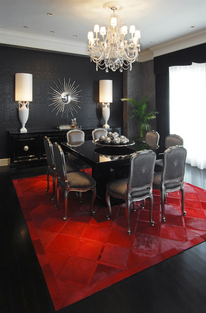 cowhides Dining Room Contemporary with area rug bold colors