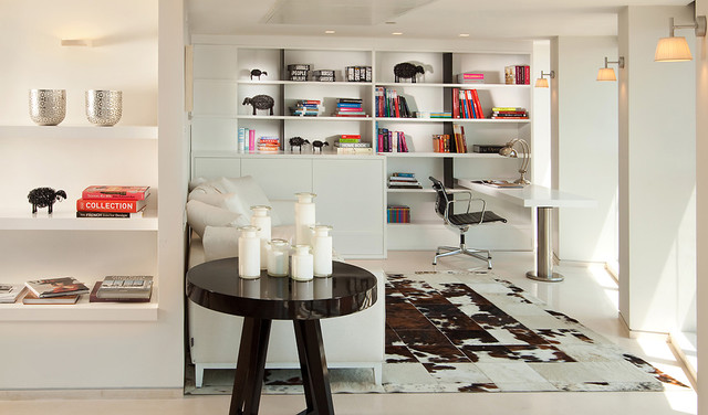 Cowhides Home Office Modern with Black and White Bookcase