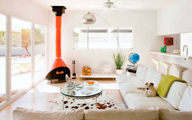 Cowhides Living Room Midcentury with Bright Color Chrome Cowhide
