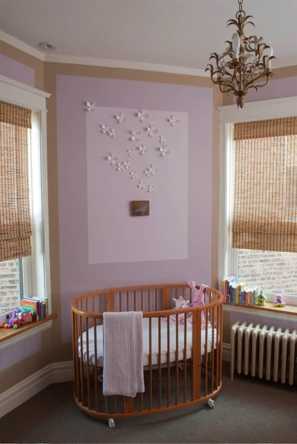Cradle Mattress Nursery Traditional with Accent Wall Baseboards Chandelier