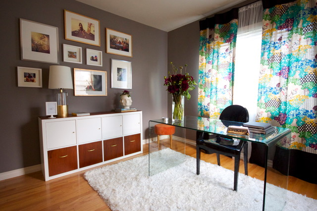 Credenza Ikea Home Office Eclectic with Artist Space Bertoia Chair