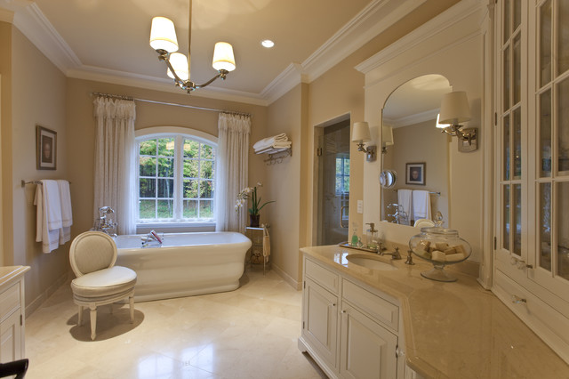 Crema Marfil Marble Bathroom Traditional with Arched Window Beige Chandelier