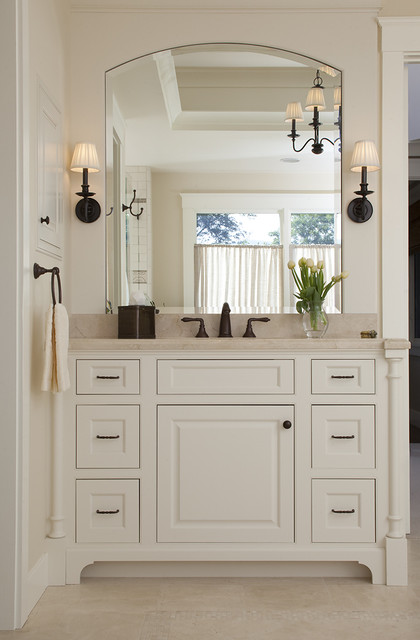 Crema Marfil Marble Bathroom Traditional with Baseboards Bathroom Lighting Chandelier
