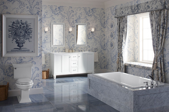 Crema Marfil Marble Bathroom Traditional with Blue Marble Calm Blue