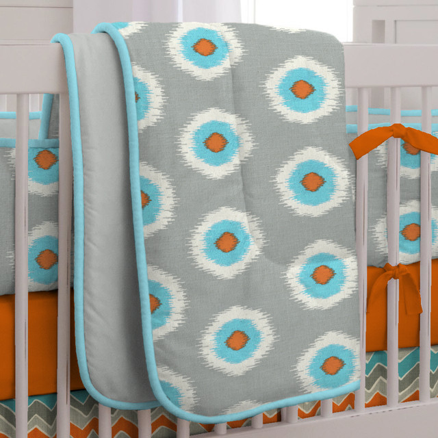 Crib Comforter Spaces Modern with Baby Bedding Blue Chevron