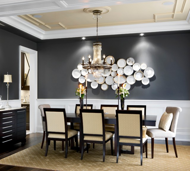 Crystorama Dining Room Traditional with Charcoal Wall Crystal Chandelier