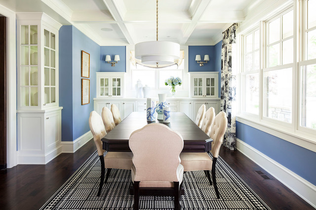 Crystorama Dining Room Transitional with Area Rug Back And