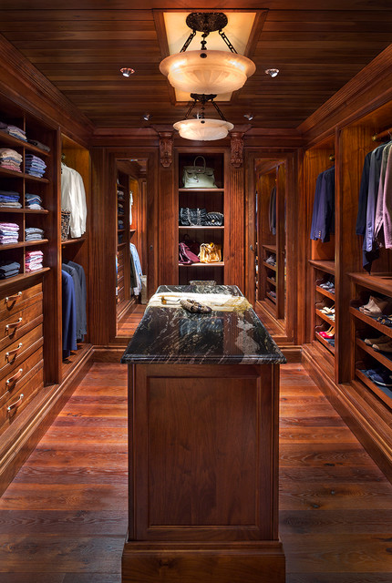 Cubby Shelves Closet Traditional with Ceiling Light Dark Wood