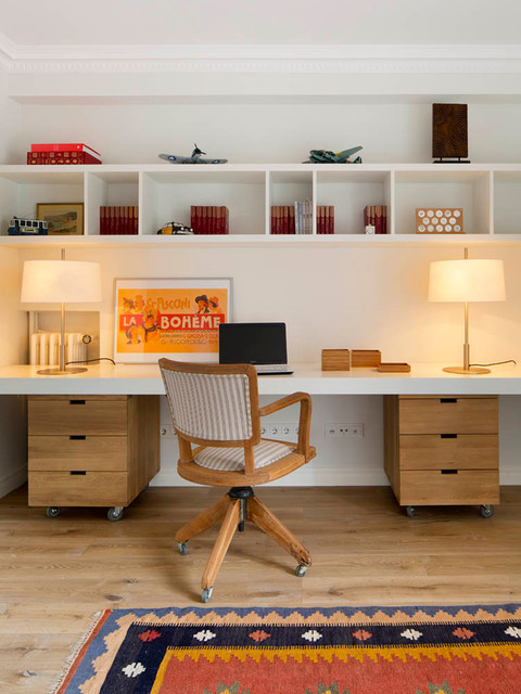 Cubby Shelves Home Office Midcentury with Built in Shelves Casa