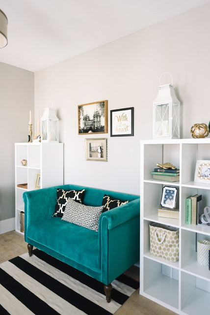 Cubby Shelves Home Office Transitional with Black and White Blue