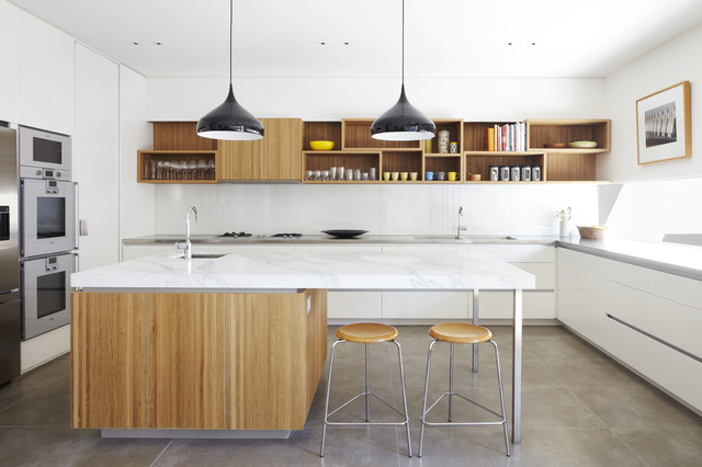 cubby shelves Kitchen Midcentury with black pendant lighting cubby