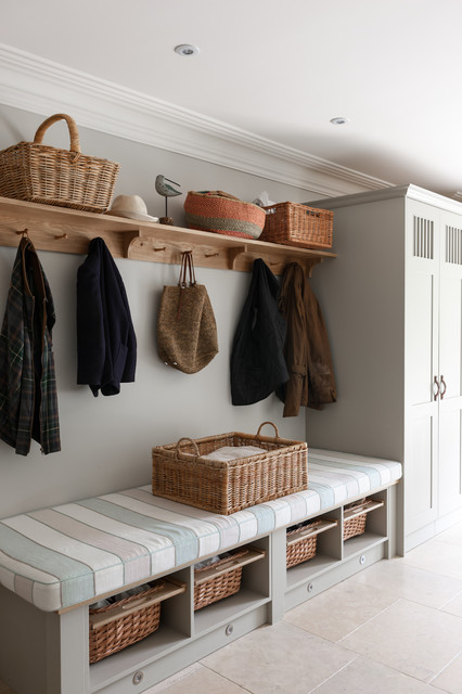 Cubby Storage Unit Entry Transitional with Basket Bench Built in Cabinetry