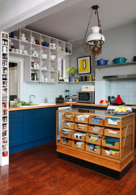 Cubby Storage Unit Kitchen Eclectic with Blue Tile Blue Tile