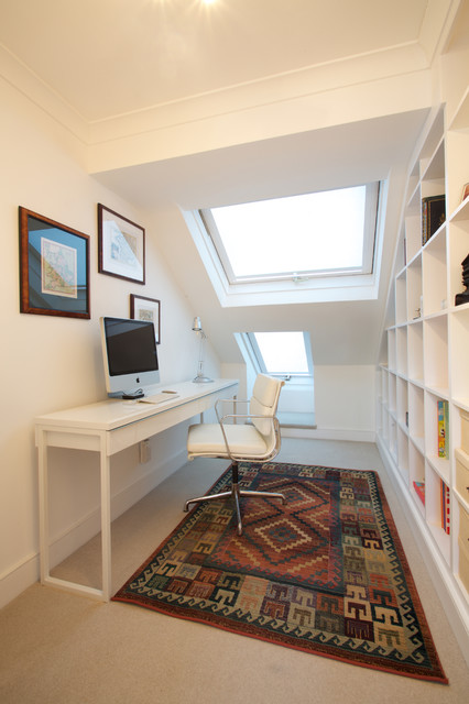 Cube Bookcase Home Office Contemporary with Built in Shelves Eames Office1