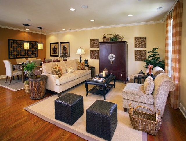 Cube Ottoman Family Room Transitional with Accent Tile Beige Chair